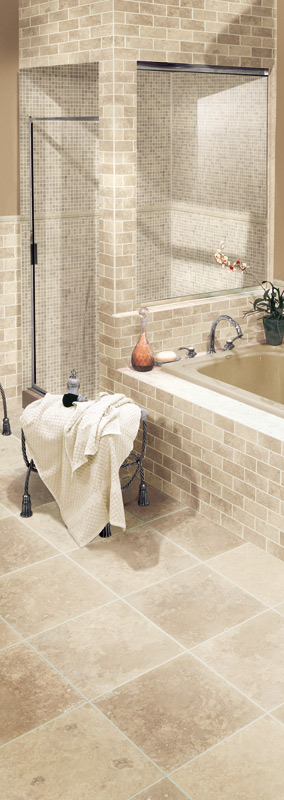 Travetine Honed Filled and Tumbled Collection Beige Bathroom Room Scene