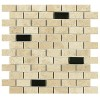 MARM124C1 - 1x2 Marble Botticino Brick Mosaic Polished W-Glass