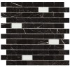 MARM123D1 - 1x2 MarbleToros Black Brick Mosaic Polished W-Glass