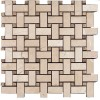 MARBA47 - 1x2 Basketweave Botticino - Emperador Brown -dot- Polished