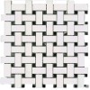 MARBA80 - 1x2 Basketweave Dolomite White - Toros Black -dot- Polished